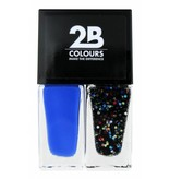 2B Cosmetics Nail polish Duo - Electric blue & crazy dots
