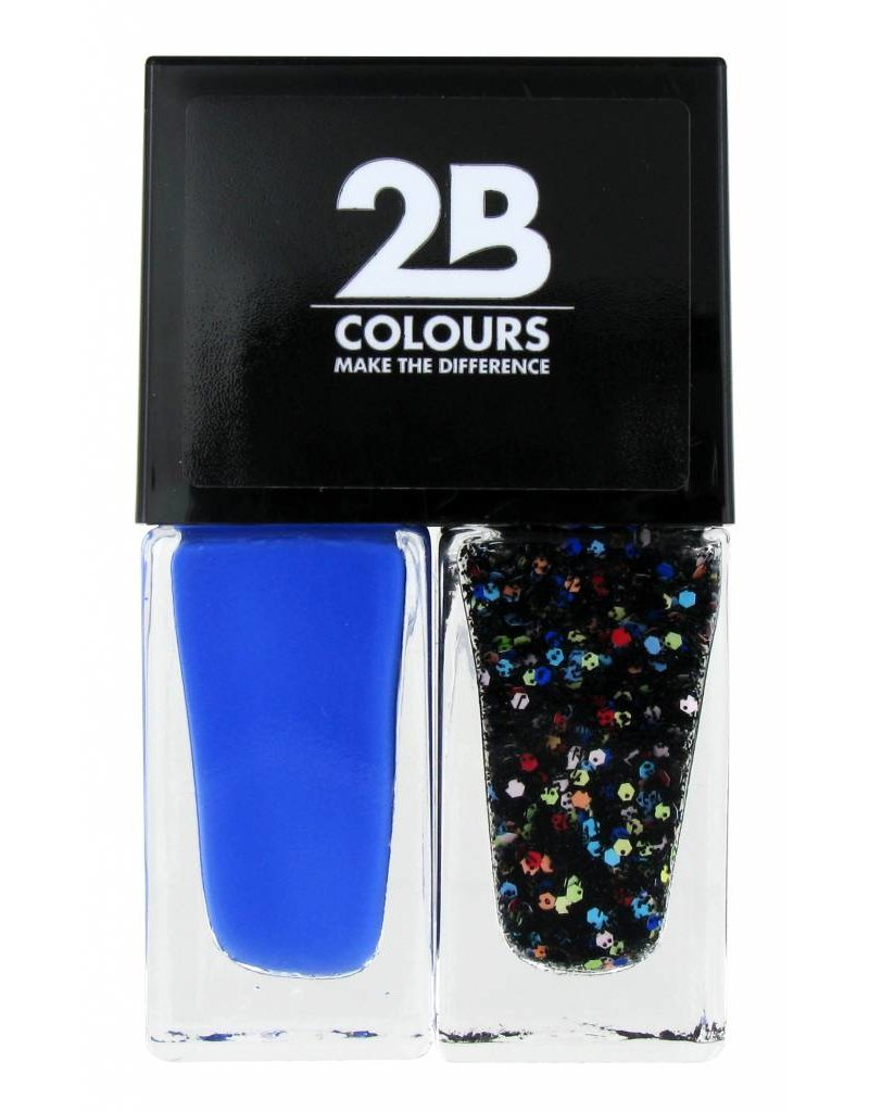 2B Cosmetics Nagellak Duo - Electric blue & crazy dots