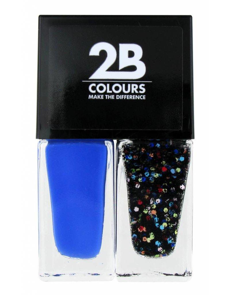 2B Cosmetics Nail polish Duo - Electric blue & crazy dots