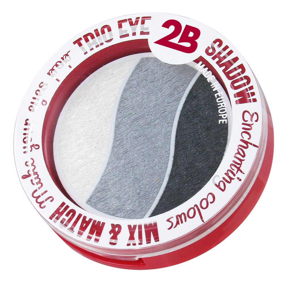 2B Cosmetics TRIO EYE SHADOW MIX & MATCH - WHITE/GREY/ANTHRACITE