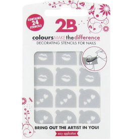 2B Cosmetics Nail art stencil 02 Lips & Hearts