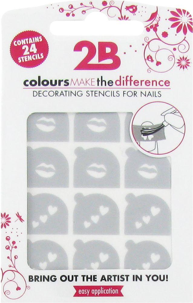 2B Cosmetics Nail art stencil 02 Lips & Hearts