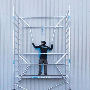Euroscaffold Rolsteiger 135 x 305 x 7,2 m fiber decks incl enkele voorloopleuning