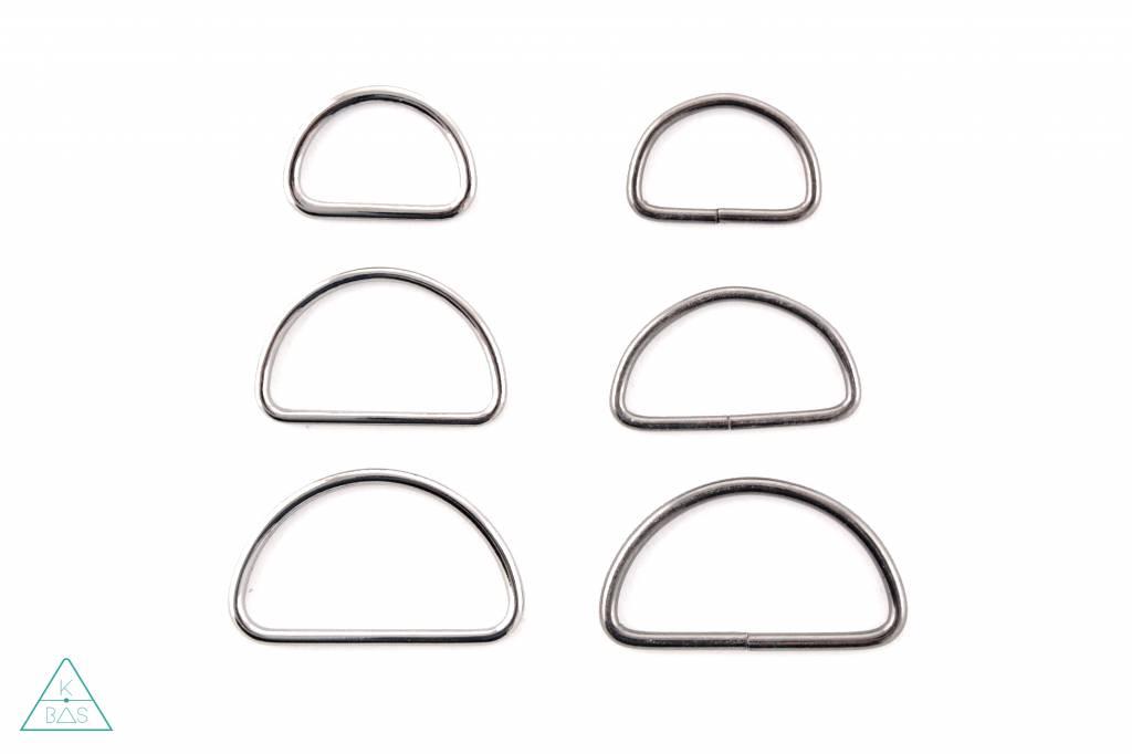 D-ring Zwart Nikkel 40mm