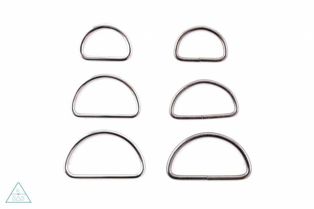 D-ring Zwart Nikkel 50mm