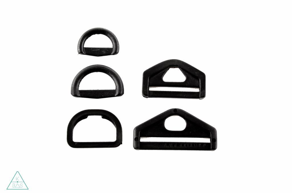 D-ring triangel Kunststof Zwart 50mm