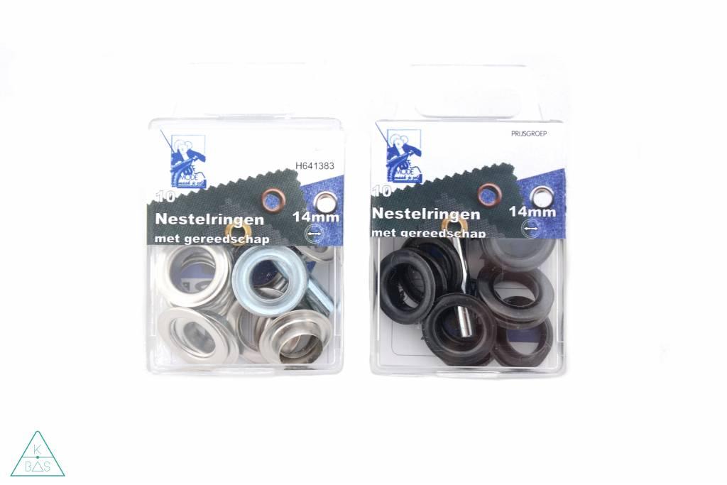 MMJZ Zeilringen Zwart nikkel 14mm, voorverpakt