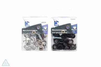Zeilringen Zwart nikkel 8mm, voorverpakt
