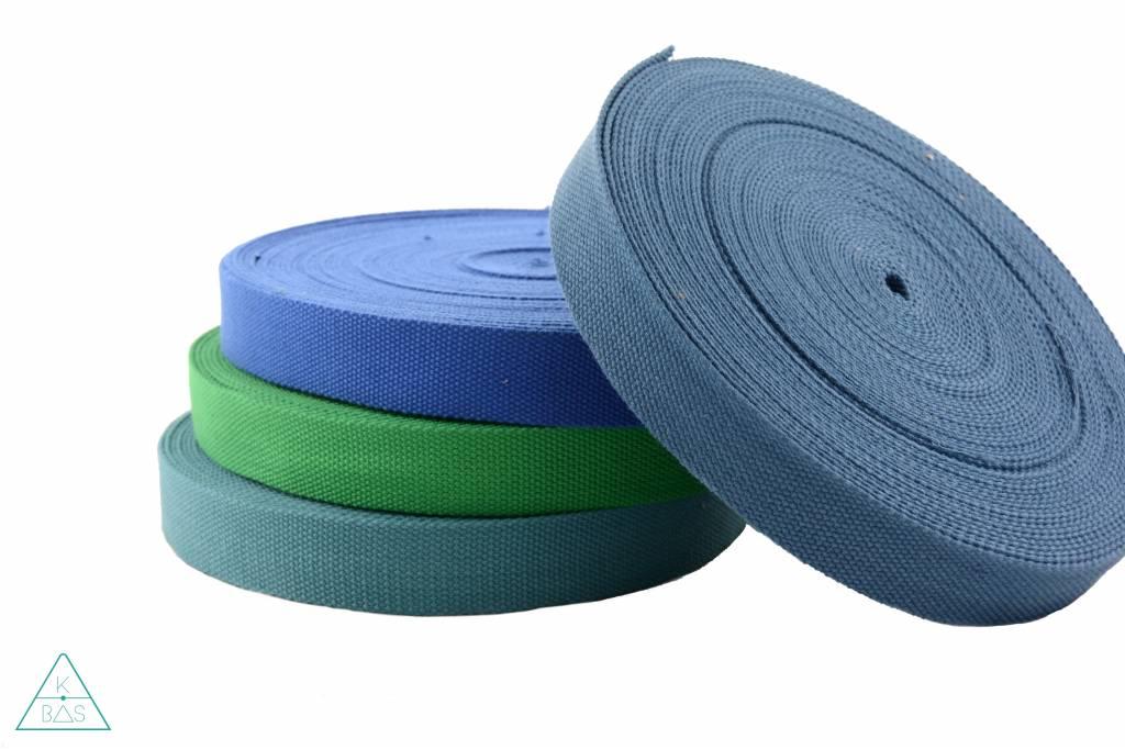 Katoenen tassenband Jeansblauw 32mm