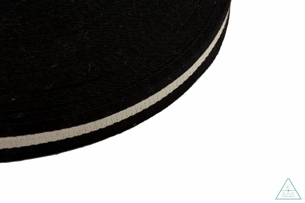 Soepele gestreepte tassenband Zwart-Ivoor 38mm