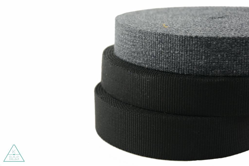Katoenen tassenband Zwart 35mm