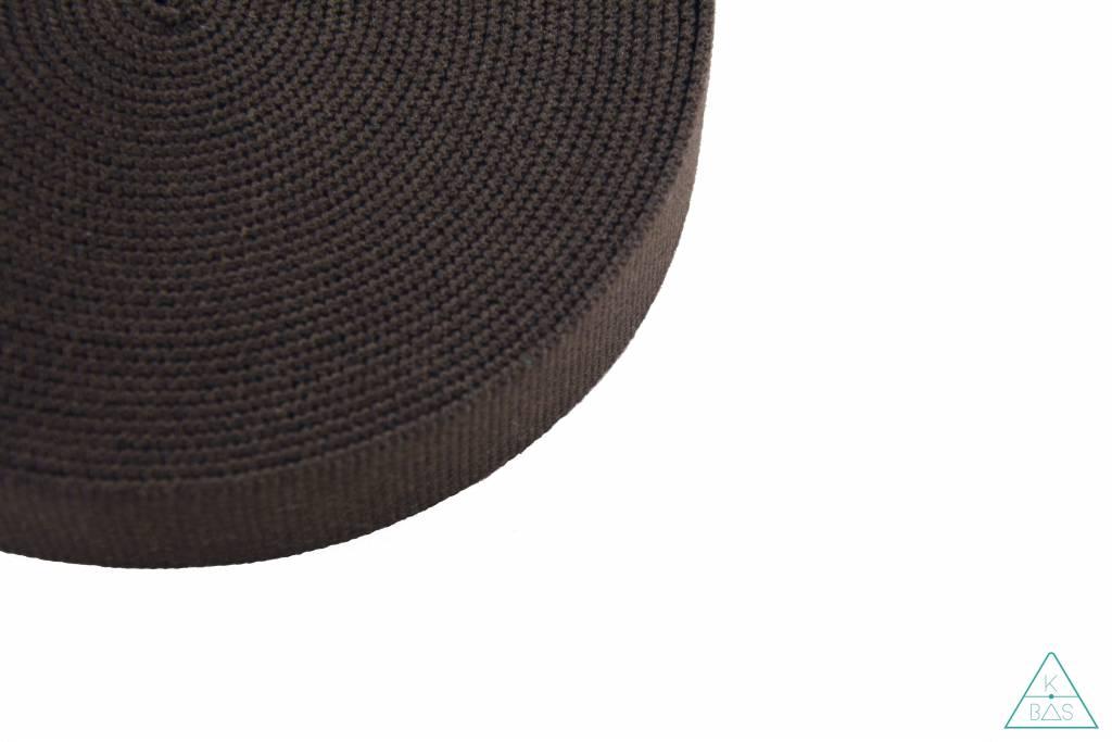 Katoenen tassenband Donkerbruin 30mm