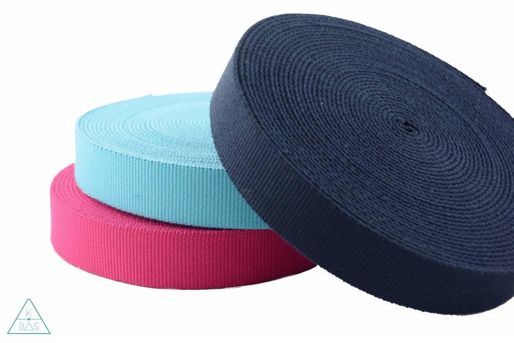 Katoenen tassenband Donkerblauw 30mm