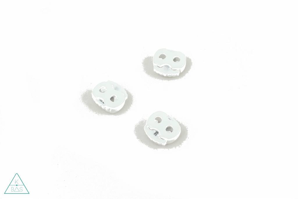 Koordstopper 2-gaten klein Wit