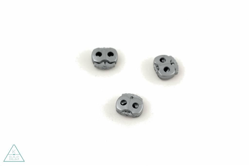 Koordstopper 2-gaten klein Zilver