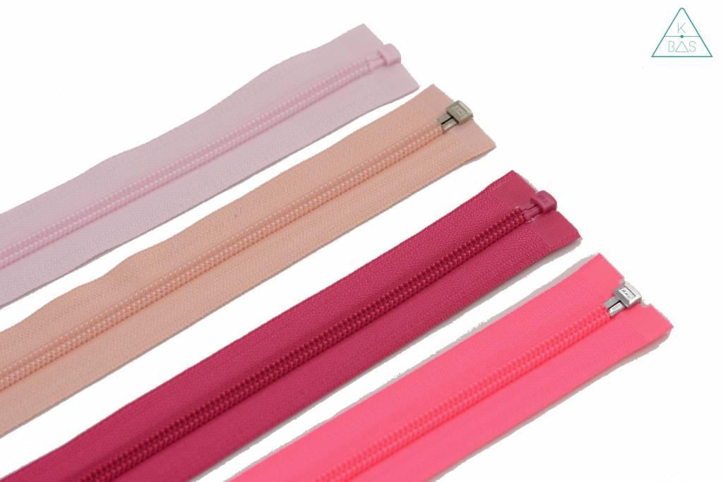 YKK Deelbare  Spiraalrits 45cm Fluo roze