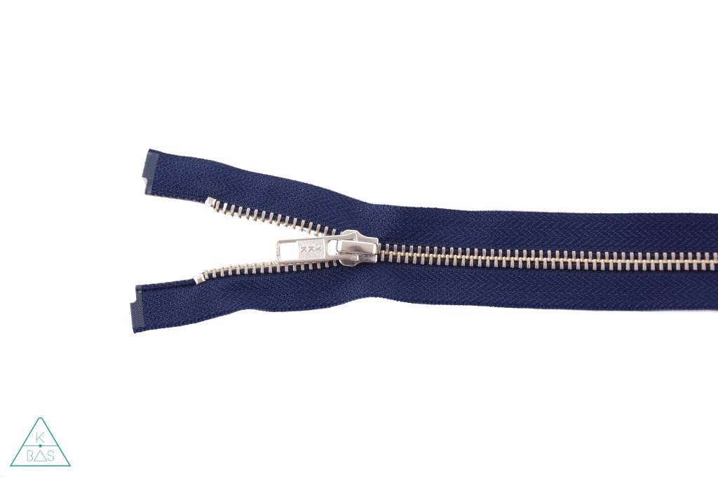 YKK Deelbare Metalen rits Nikkel 65cm Donkerblauw