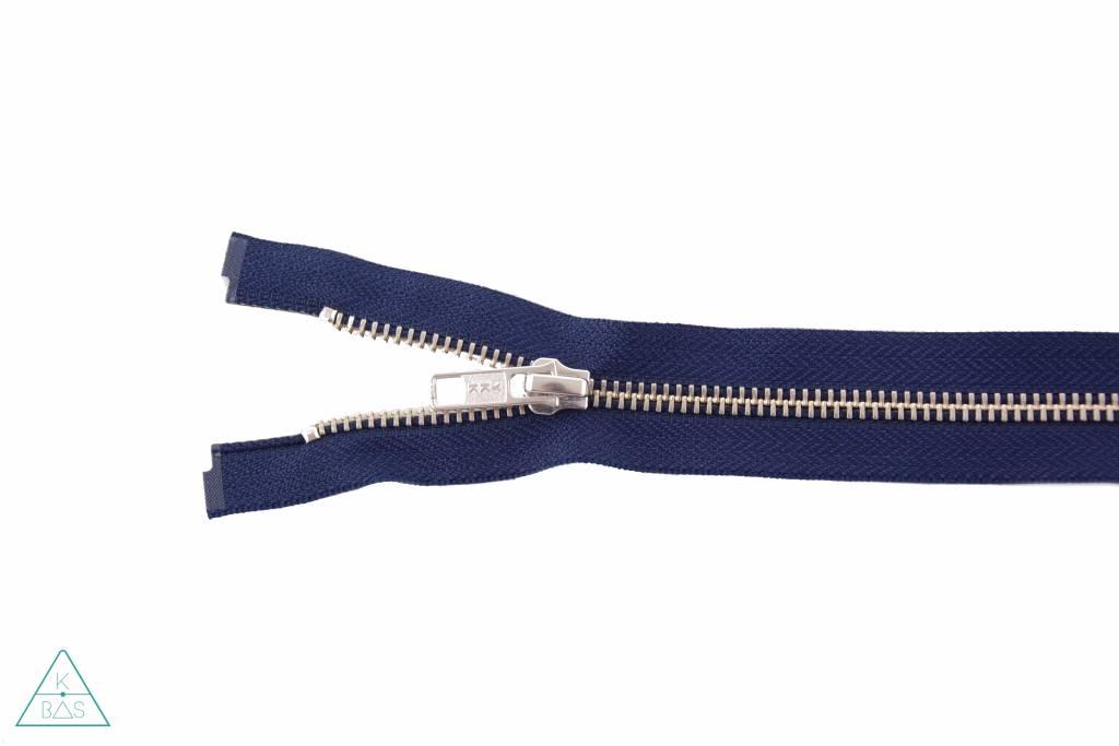 YKK Deelbare Metalen rits Nikkel 45cm Donkerblauw