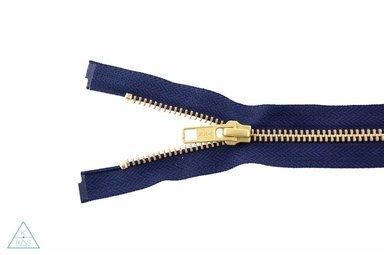 Metalen rits Goud 45cm Donkerblauw