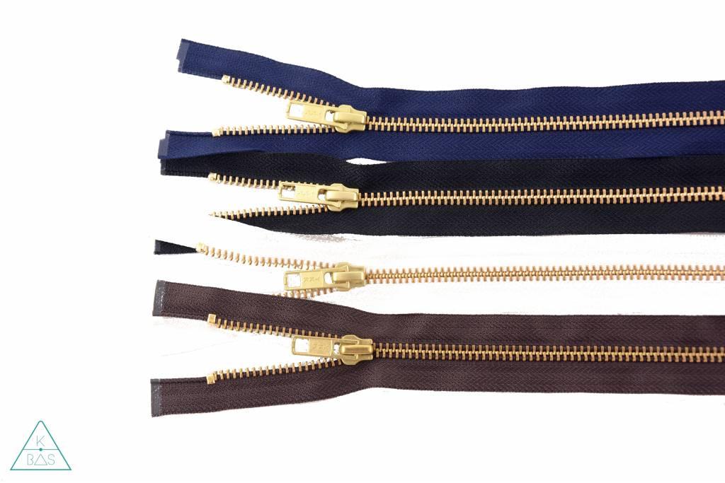 YKK Deelbare Metalen rits Goud 45cm Donkerblauw