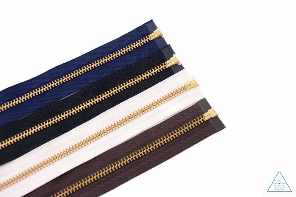 YKK Deelbare Metalen rits Goud 45cm Zwart