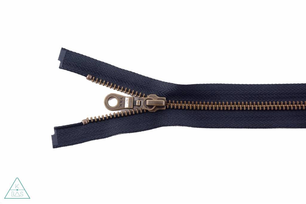 YKK Deelbare Metalen rits Brons 65cm Donkerblauw
