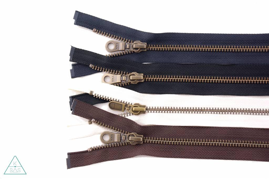 YKK Deelbare Metalen rits Brons 65cm Donkerbruin