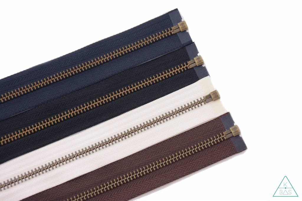 YKK Deelbare Metalen rits Brons 45cm Marineblauw