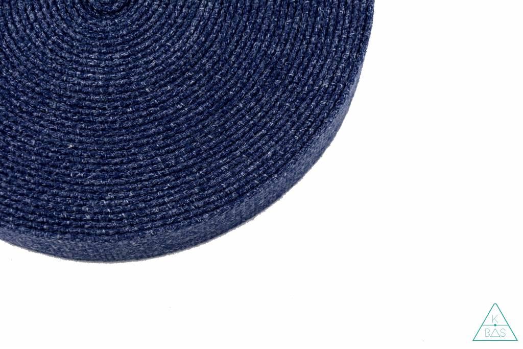 Katoenen tassenband Blauw Jeanslook 30mm