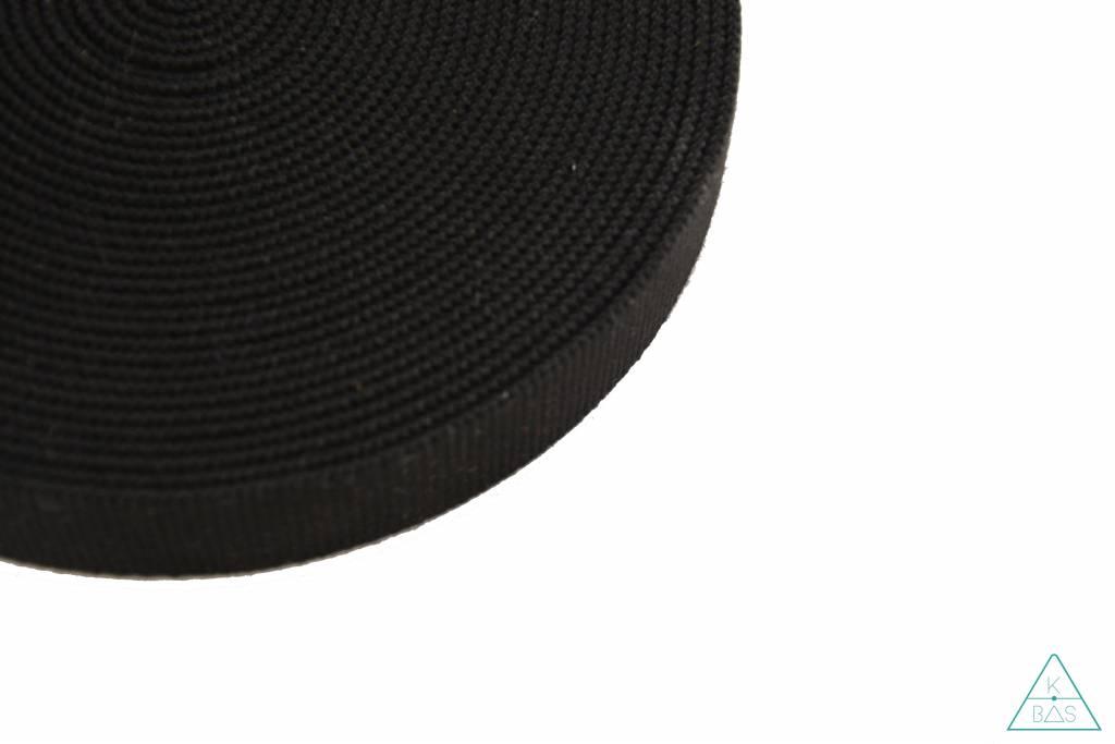 Katoenen tassenband Zwart 40mm