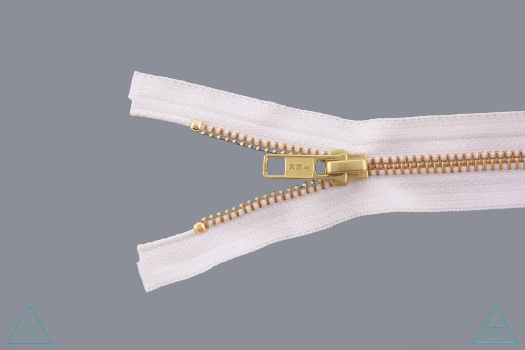 YKK Deelbare Metalen rits Goud 45cm Ivoor