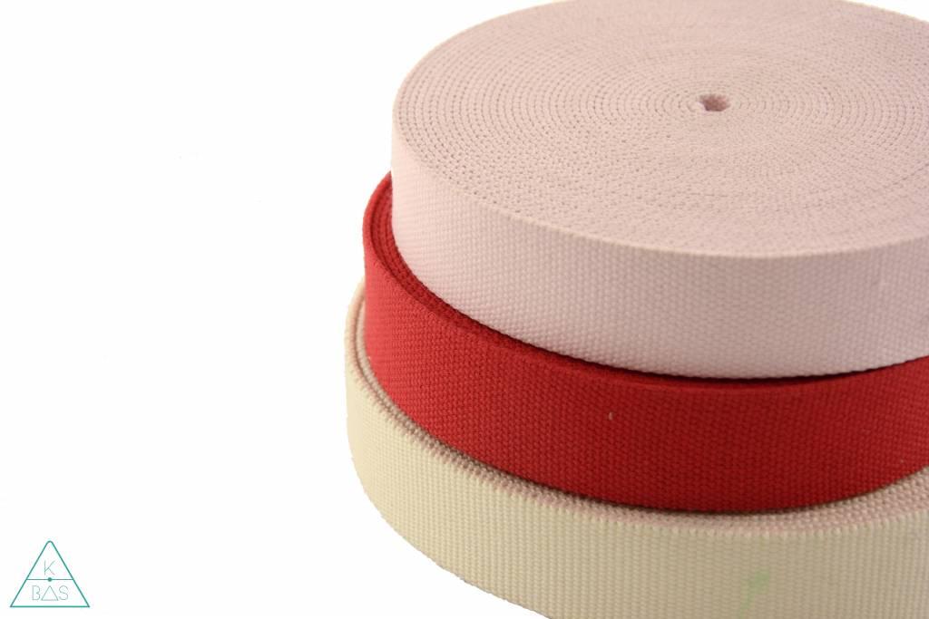 Katoenen tassenband Rood 30mm