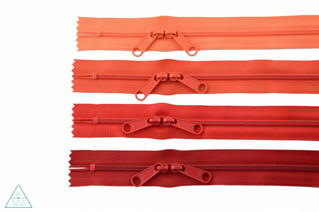 YKK Spiraalrits 75cm met twee trekkers (O-type) Rood