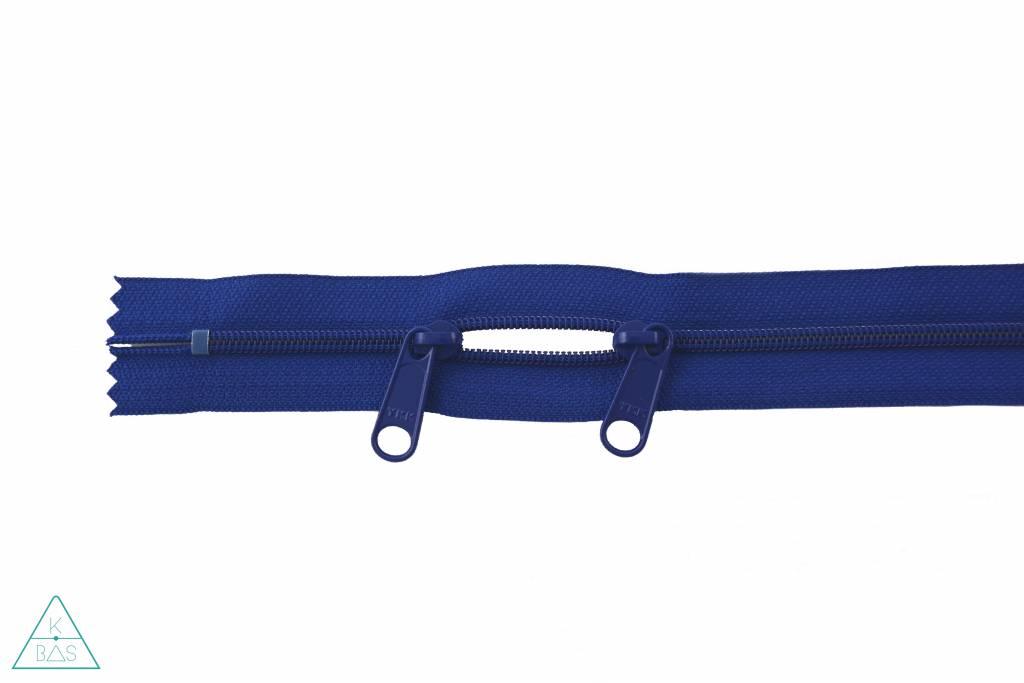 YKK Spiraalrits 75cm met twee trekkers (O-type) Koningsblauw