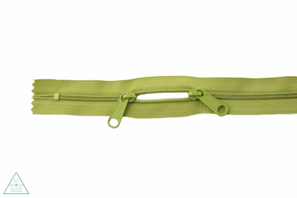 YKK Spiraalrits 75cm met twee trekkers (O-type) Lime