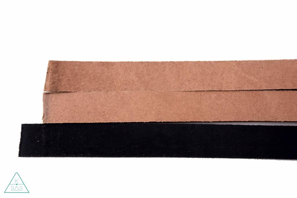 Leren riem Zwart 15mm