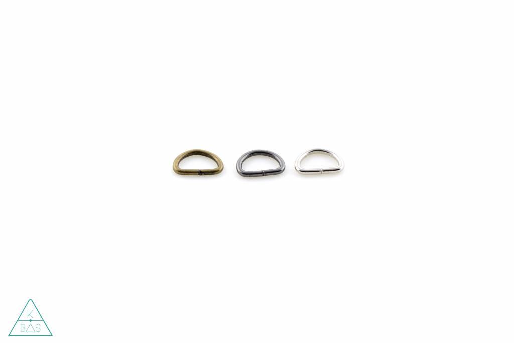 D-ring Zwart Nikkel 10mm