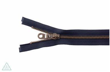 Metalen rits Brons 45cm Donkerblauw