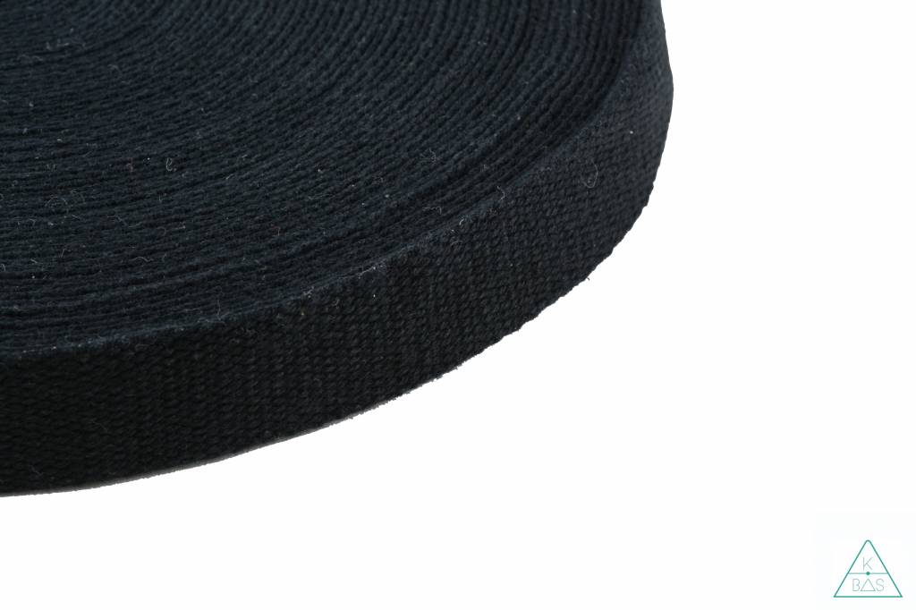 Katoenlook tassenband Zwart 25mm