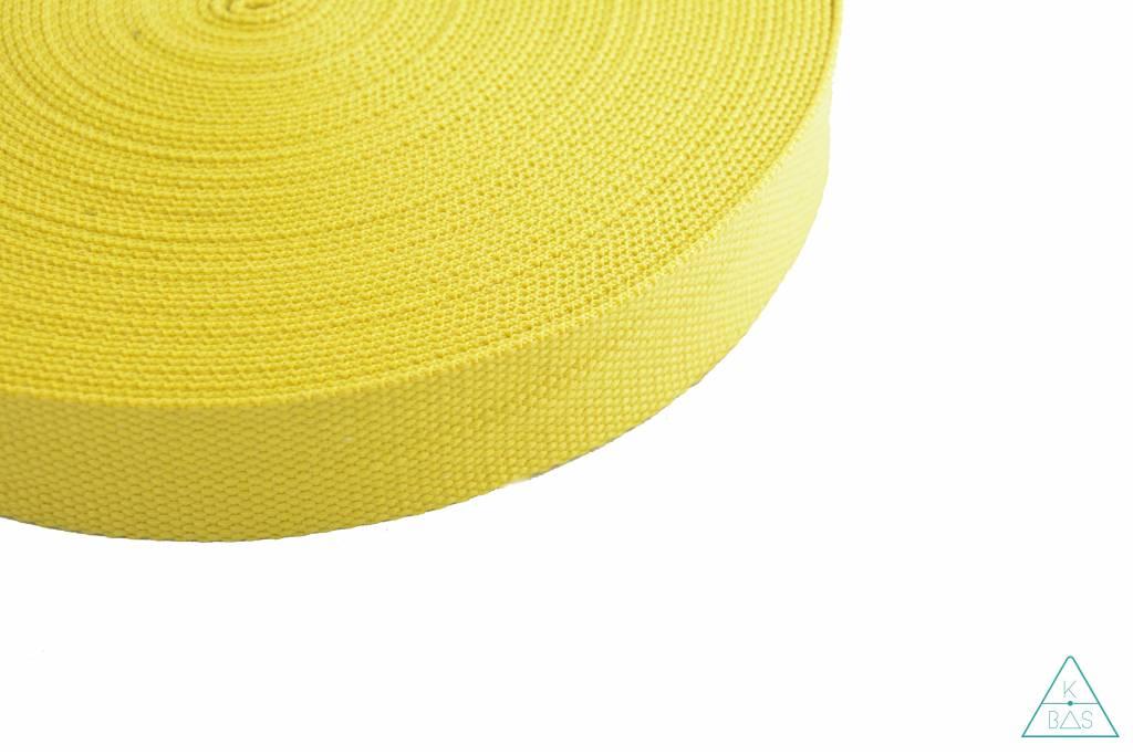 Katoenen tassenband citroengeel 38mm
