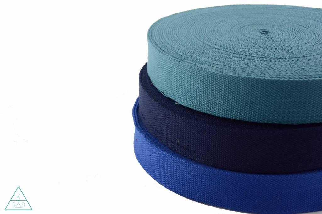 Katoenen tassenband Donkerblauw 32mm