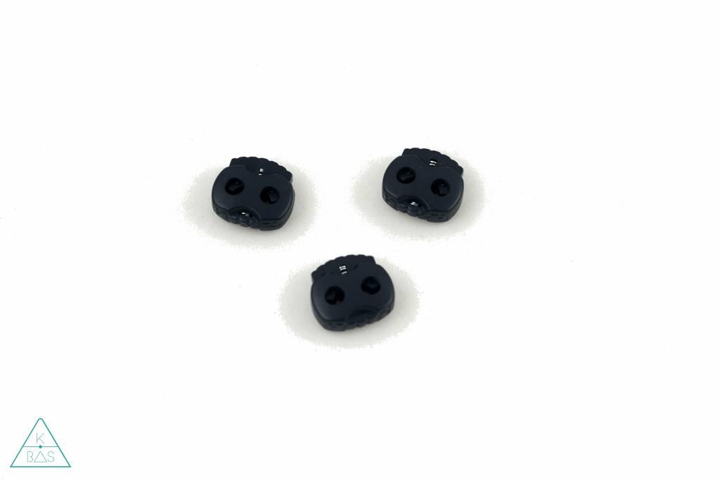 Koordstopper 2-gaten klein Zwart