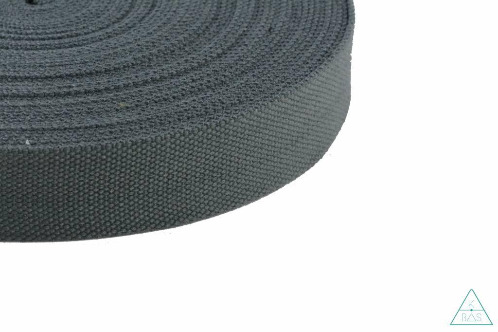 Katoenen tassenband Donkergrijs 38mm