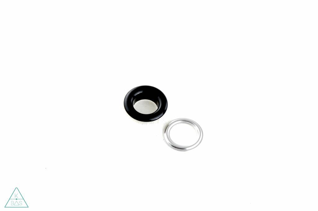 Zeilring Zwart glanzend 8mm