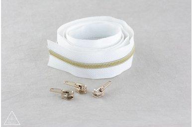 Niet-deelbare spiraalrits 100cm - Wit met goud