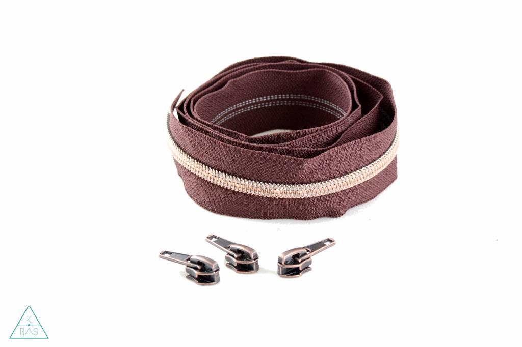 Niet-deelbare spiraalrits 100cm - Roodbruin met koper