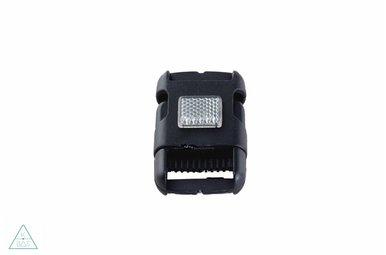 Zwarte klikgesp, 40mm met reflector