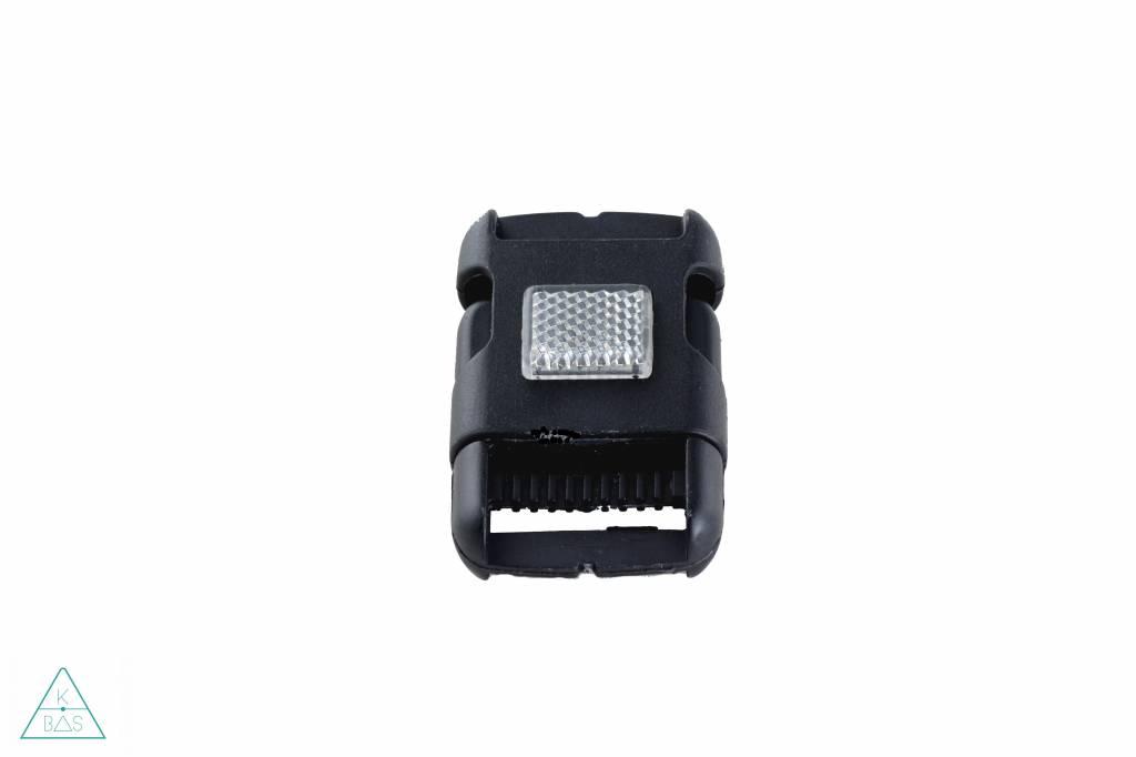 Zwarte klikgesp, 30mm met reflector