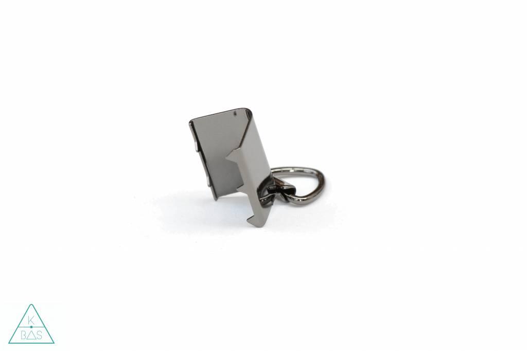 k-bas Tasklem met D-ring Zwart nikkel