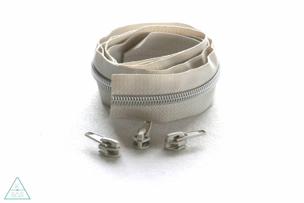 Niet-deelbare spiraalrits 100cm -Beige met zilver